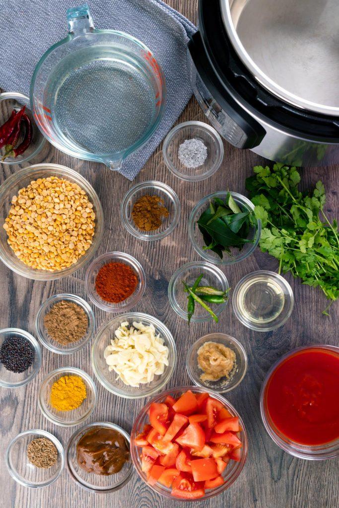 ingredients to make toor dal