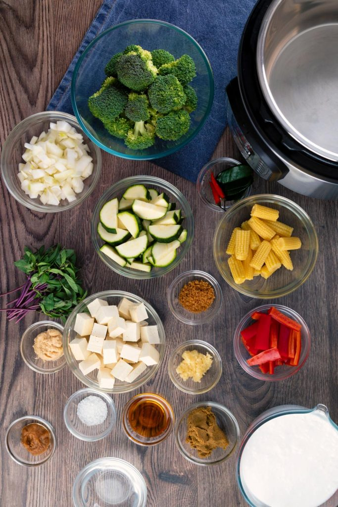 Ingredients to make authentic thai green curry