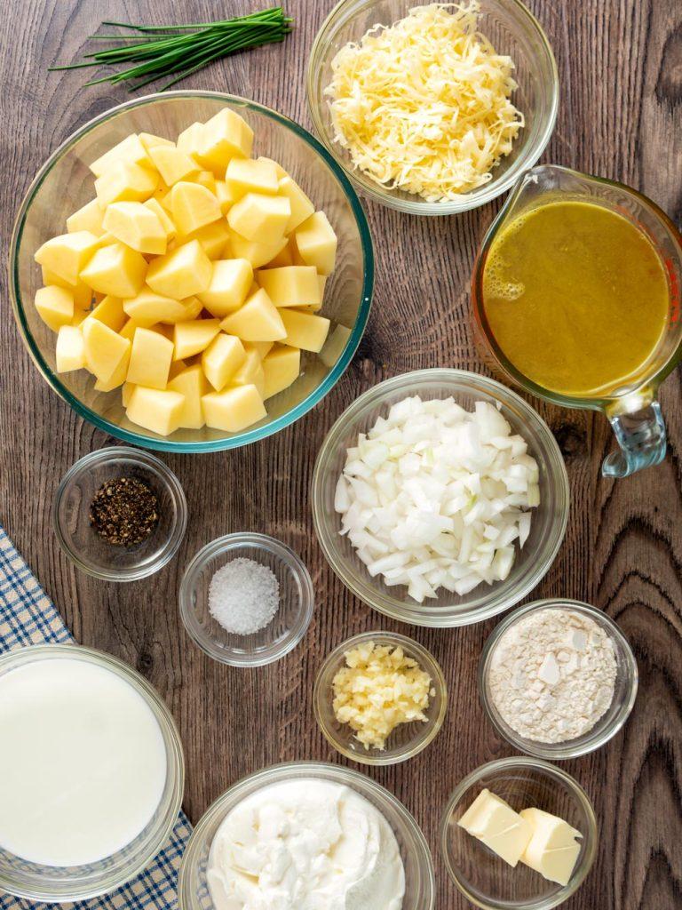 Ingredients to make Homemade Vegetarian Potato Soup